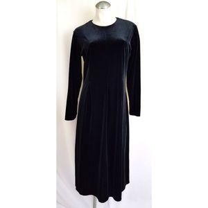 Talbots Size PM Black Velvet Velour Long Dress